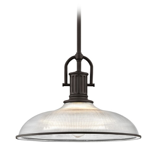 Design Classics Lighting Industrial Farmhouse Prismatic Glass Pendant Light Bronze 14.38-Inch Wide 1764-220 G1781-FC R1781-220
