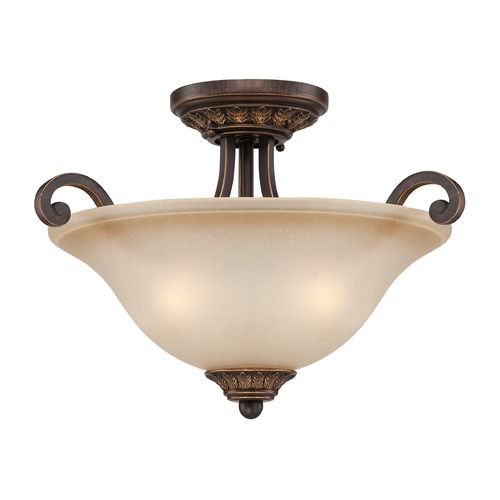 Craftmade Lighting Craftmade Josephine Antique Bronze, Gold Accents Semi-Flushmount Light 28253-ABZG