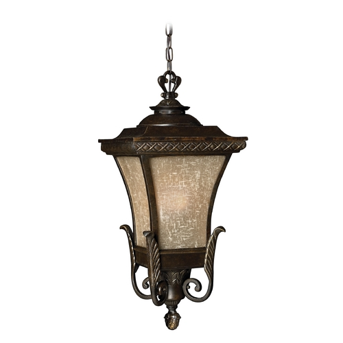 Hinkley Lighting LED Outdoor Hanging Light with Amber Glass in Regency Bronze Finish 1932RB-LED