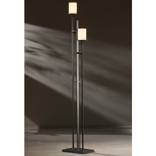 Hubbardton Forge Lighting Hubbardton Forge Lighting Rook Dark Smoke Torchiere Lamp with Cylindrical Shade 234903-07-G188