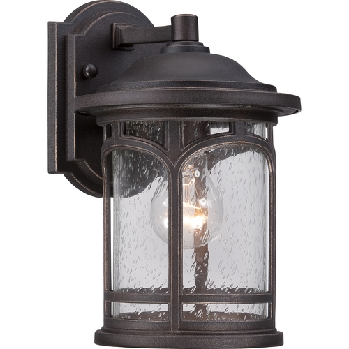 Quoizel Lighting Seeded Glass Outdoor Wall Light Bronze Quoizel Lighting MBH8407PN