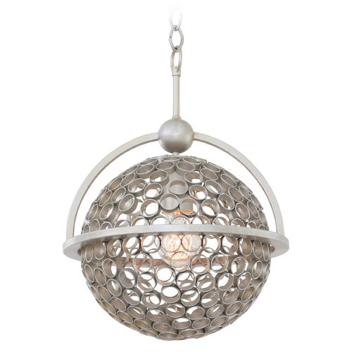 Kalco Lighting Kalco Lighting Marrero Aged Silver Pendant Light with Globe Shade 2970SV