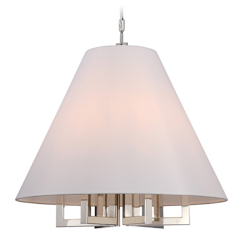 Crystorama Lighting Crystorama Lighting Westwood Polished Nickel Pendant Light with Conical Shade 2259-PN