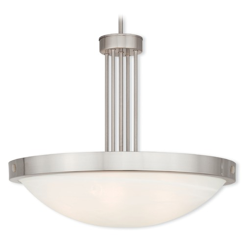 Livex Lighting Livex Lighting New Brighton Brushed Nickel Pendant Light with Bowl / Dome Shade 73965-91