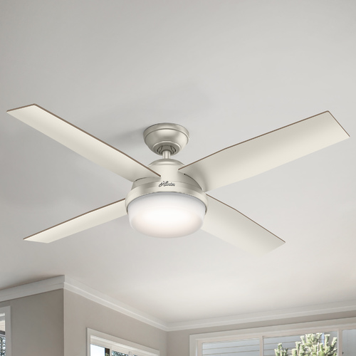 Hunter Fan Company Hunter 52-Inch Matte Nickel LED Ceiling Fan with Light with Hand-Held Remote 59450