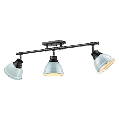 Golden Lighting Golden Lighting Duncan Black Track Light Kit with Seafoam Shade 3602-3SFBLK-SF