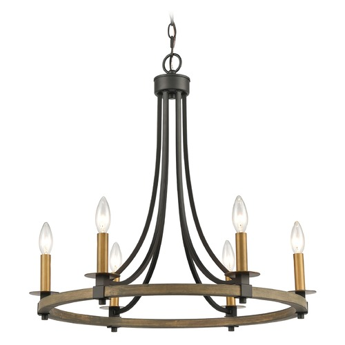 Elk Lighting Elk Lighting Woodbridge Matte Black, Weathered Oak, Aged Brass Chandelier 16548/6