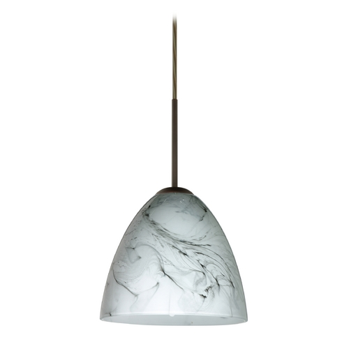 Besa Lighting Modern Pendant Light with Grey Glass in Bronze Finish 1JT-4470MG-BR