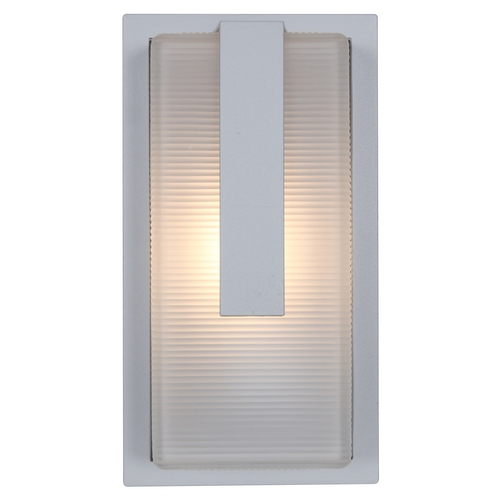 Access Lighting Outdoor Wall Light with White Glass in Satin Nickel Finish 20333MG-SAT/RFR