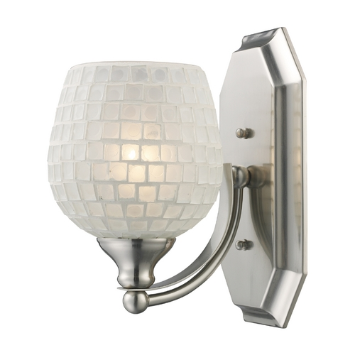 Elk Lighting Sconce with Art Glass in Satin Nickel Finish 570-1N-WHT