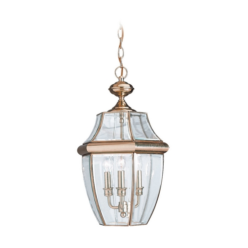 Sea Gull Lighting Outdoor Hanging Light with Clear Glass in Polished Brass Finish 6039-02