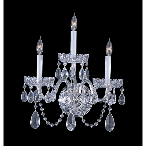 Crystorama Lighting Crystal Sconce Wall Light in Polished Chrome Finish 1033-CH-CL-MWP