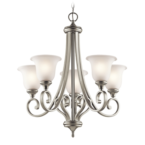 Kichler Lighting Kichler Chandelier with White Glass in Brushed Nickel Finish 43156NI