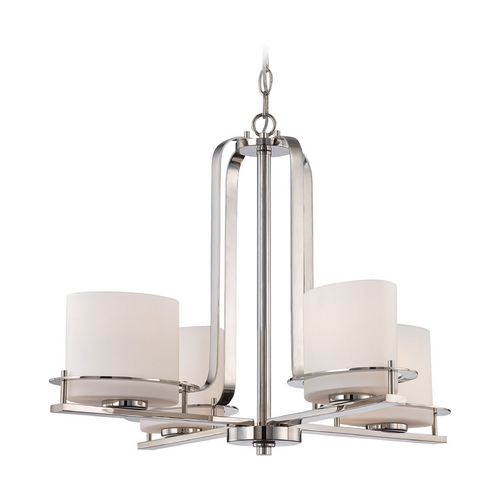 Nuvo Lighting Chandelier with White Glass in Polished Nickel Finish 60/5104