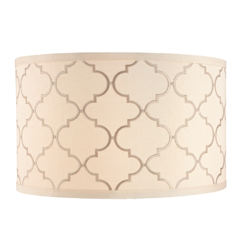 Design Classics Lighting Cream Drum Lamp Shade with Marrakesh Pattern and Spider Assembly DCL SH7639