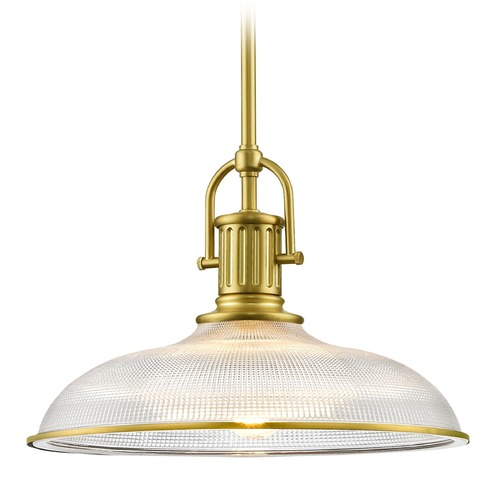 Design Classics Lighting Industrial Farmhouse Brass Pendant Light Prismatic Glass 14.38-Inch Wide 1764-12 G1781-FC R1781-12