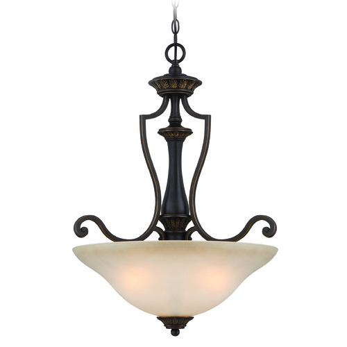 Jeremiah Lighting Jeremiah Josephine Antique Bronze, Gold Accents Pendant Light with Bowl / Dome Shade 28243-ABZG