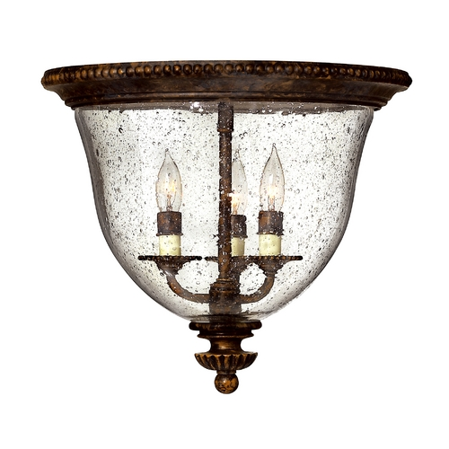 Hinkley Lighting Seeded Glass Flushmount Light Bronze Hinkley Lighting 3712FB