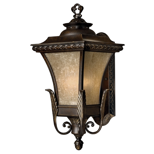 Hinkley Lighting Outdoor Wall Light with Amber Glass in Regency Bronze Finish 1934RB-GU24
