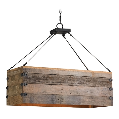 Currey and Company Lighting Currey and Company Lighting Natural / Black Smith Pendant Light with Rectangle Shade 9994