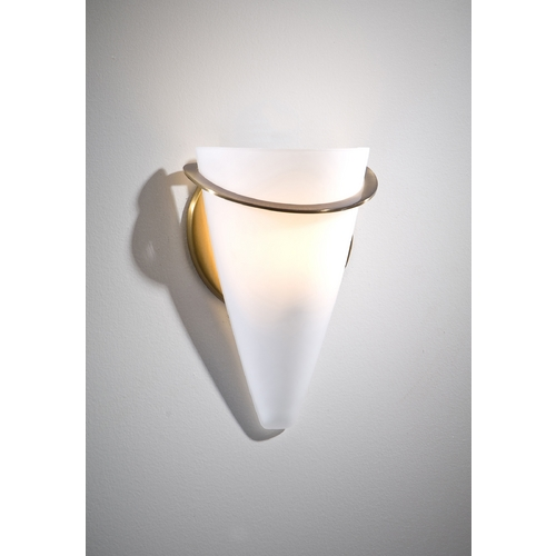 Holtkoetter Lighting Holtkoetter Modern Sconce Wall Light with White Glass in Antique Brass Finish 2977 AB SW