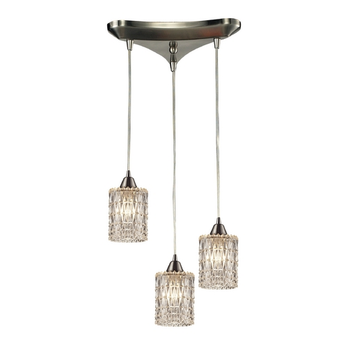 Elk Lighting Crystal Multi-Light Pendant Light with Clear Glass and 3-Lights 10343/3