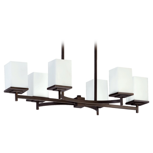 Quorum Lighting Quorum Lighting Delta Oiled Bronze Island Light with Rectangle Shade 6584-6-86