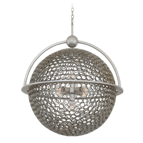 Kalco Lighting Kalco Lighting Marrero Aged Silver Pendant Light with Globe Shade 2972SV