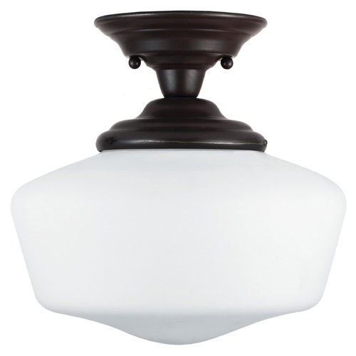 Sea Gull Lighting Schoolhouse LED Semi-Flushmount Light Bronze Academy by Sea Gull Lighting 7743691S-782