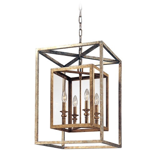 Troy Lighting Modern Pendant Light with Clear Glass in Gold Silver Leaf Finish F9994GSL