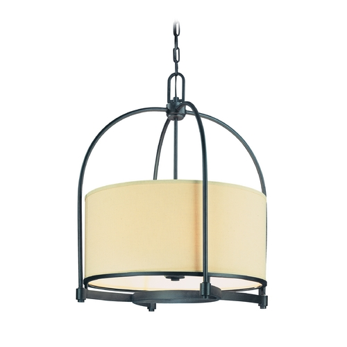 Troy Lighting Drum Pendant Light with Beige / Cream Shade in Federal Bronze Finish F1806FBZ