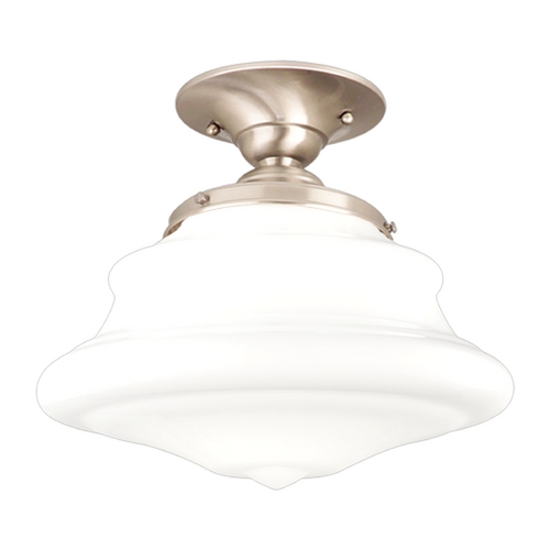 Hudson Valley Lighting Semi-Flushmount Light with White Glass in Satin Nickel Finish 3409F-SN