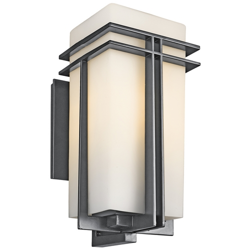 Kichler Lighting Kichler Outdoor Wall Light with White Glass in Black Finish 49203BKFL