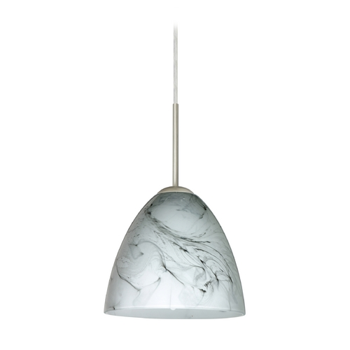 Besa Lighting Modern Pendant Light with Grey Glass in Satin Nickel Finish 1JT-4470MG-SN