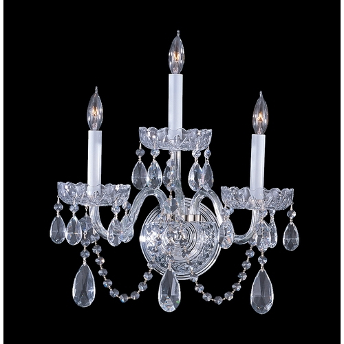 Crystorama Lighting Crystal Sconce Wall Light in Polished Chrome Finish 1033-CH-CL-S