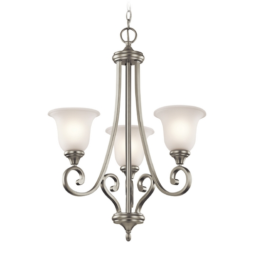 Kichler Lighting Kichler Chandelier with White Glass in Brushed Nickel Finish 43155NI