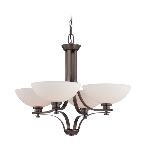 Nuvo Lighting Chandelier with White Glass in Hazel Bronze Finish 60/5114