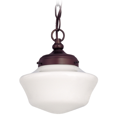 Design Classics Lighting 8-Inch Bronze Schoolhouse Mini-Pendant Light with Chain FA4-220 / GA8 / A-220