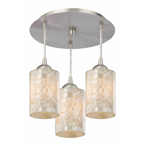 Design Classics Lighting 3-Light Semi-Flush Ceiling Light with Mosaic Glass - Nickel Finish 579-09 GL1026C