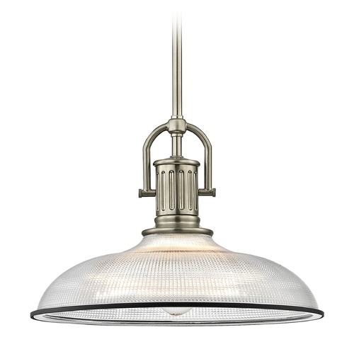 Design Classics Lighting Industrial Prismatic Glass Pendant Light Black / Nickel 14.38-Inch Wide 1764-09 G1781-FC R1781-07