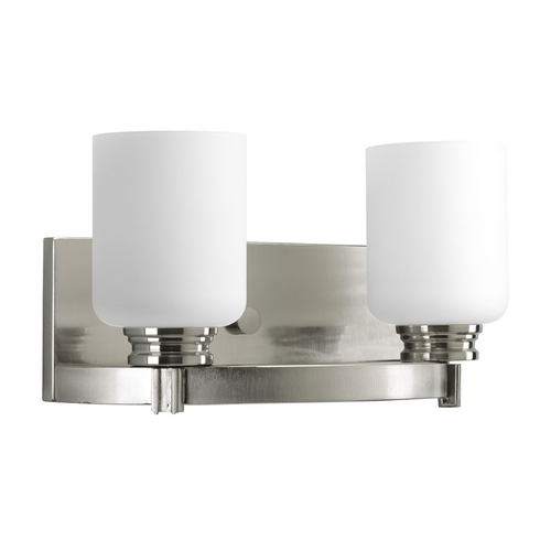 Progress Lighting Progress Bathroom Light with White Glass in Brushed Nickel Finish P3057-09