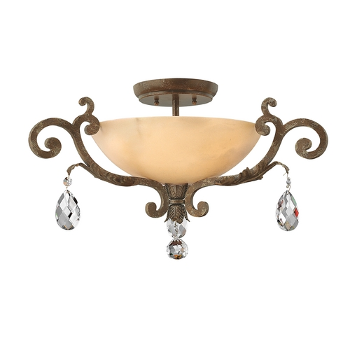 Frederick Ramond Semi-Flushmount Light with Alabaster Glass in French Marble Finish FR44104FRM