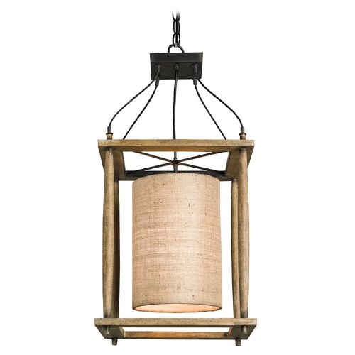 Currey and Company Lighting Currey and Company Lighting Reclaimed Wood / Black Smith Pendant Light with Cylindrical Shade 9996