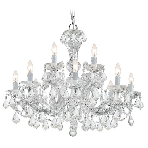 Crystorama Lighting Crystorama Maria Theresa 2-Tier 12-Light Crystal Chandelier in Polished Chrome 4479-CH-CL-S