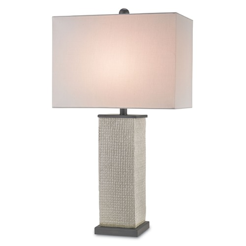 Currey and Company Lighting Currey and Company Lighting Reed Gray / Black Bronze Table Lamp with Rectangle Shade 6023