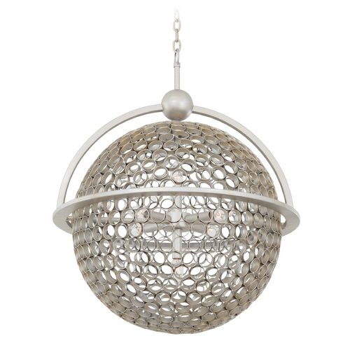 Kalco Lighting Kalco Lighting Marrero Aged Silver Pendant Light with Globe Shade 2973SV