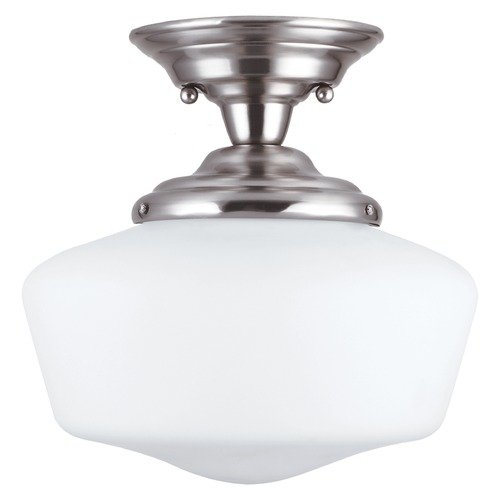 Sea Gull Lighting Schoolhouse LED Semi-Flushmount Light Brushed Nickel Academy by Sea Gull Lighting 7743691S-962