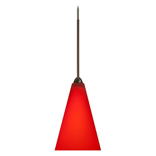 Besa Lighting Besa Lighting Kiki Bronze LED Mini-Pendant Light with Conical Shade 1XT-1382RM-LED-BR