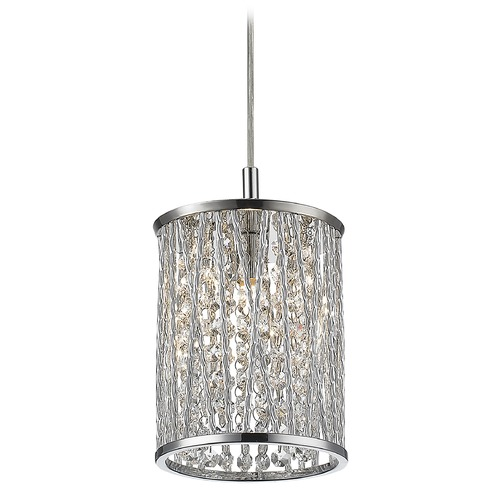Z-Lite Z-Lite Terra Chrome Mini-Pendant Light with Cylindrical Shade 872CH-RMP