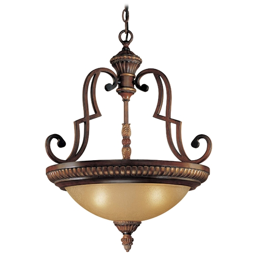 Minka Lavery Pendant Light with Beige / Cream Glass in Belcaro Walnut Finish 937-126